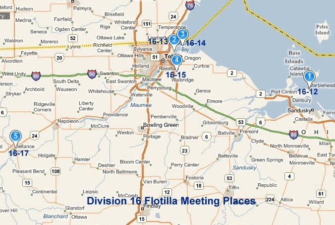 Map showing flotilla meeting locations